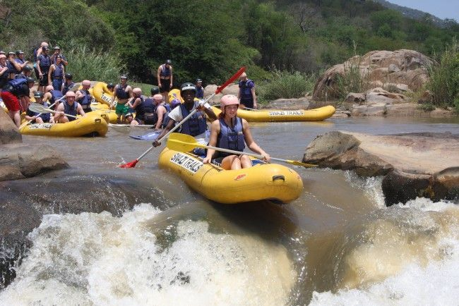 Swazi Trails - River Rafting.  As one of the founders of rafting in Southern Africa, Swazi Trails have been offering white-water trips on the Grade IV Great Usutu River since 1991. Half- and full-day outings depart daily, with raft-tube-abseil combos in winter months.  No prior experience is required. We make use of either 2-man 'croc' or 8-man Nile rafts, with experienced guides keeping a close eye at all times. #dirtyboots #rafting #swaziland