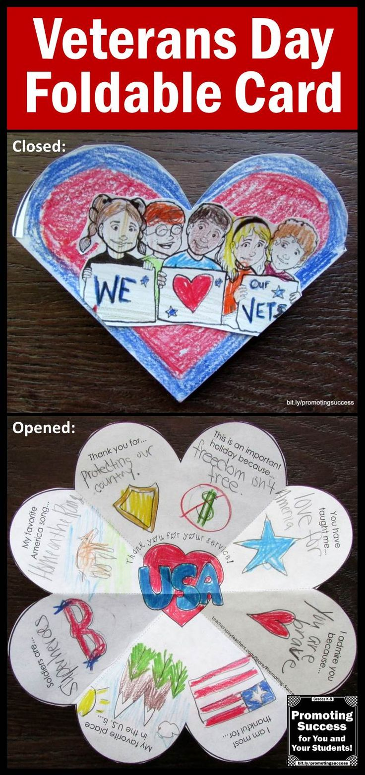 Veterans Day Card: Your students will enjoy creating this foldable card to show their appreciation for a special Veteran. The are six variations of the ONE template, including open-ended options to meet the individual needs of all your students. This Veterans Day craft card activity works well year after year for multiple grade levels due to the different templates and writing or drawing options! https://www.teacherspayteachers.com/Product/Veterans-Day-2186100