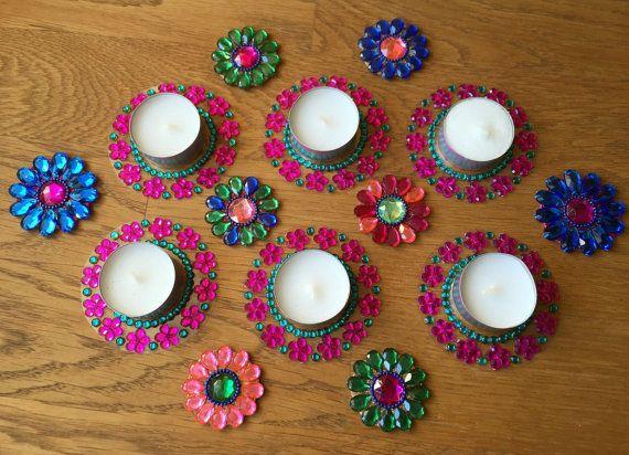 Diya kundan rangoli candle holder tealight candle by CozMHappy