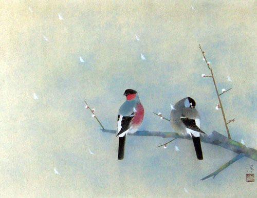 Atsushi Uemura 上村淳之 (1933-), kachoga painter, grandson of Shoen Uemura 上村松園 (1875-1949) and son of Shoko Uemura 上村松篁 (1902-2001).