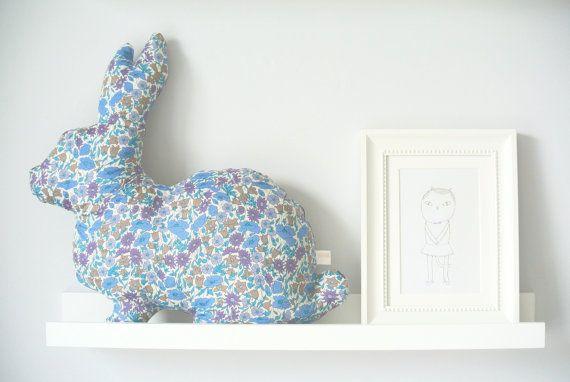 Liberty Rabbit Cushion Poppy & Daisy Blue