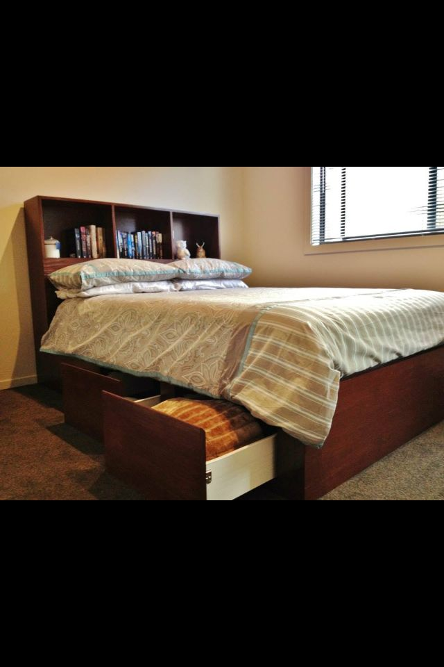 Bookcase double bed with underside draws