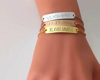 Roman numeral bracelet personalized bracelet rose gold bar bracelet bridesmaid gift gift for her morse code bracelet gps coordinate bracelet