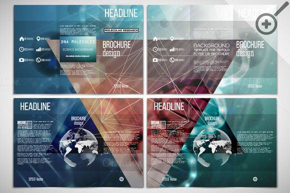 Vector set of science templates by vectorshop on creative for Science brochure template