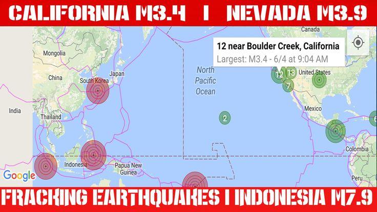 Earthquake Report   June 4, 2016   California M3.4   Nevada M3.9   Indon...