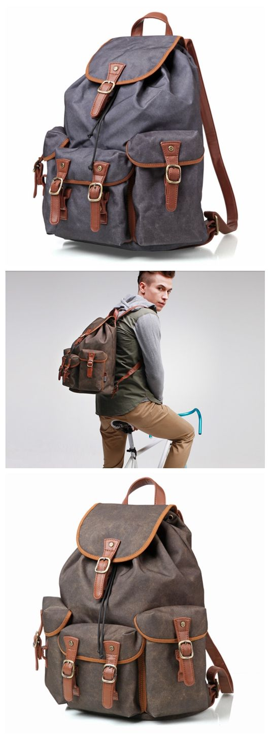 Waterproof Canvas Travel Backpack School Backpack Men's Backpack Cool Hiking Backpack FB15 -------------------------------- Style: Selection of the finest oxford cloth, advanced nylon inner liner, sim