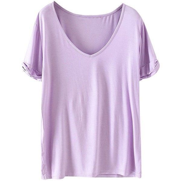 SheIn Women's Summer Short Sleeve Loose Casual Tee T-shirt ($13) ❤ liked on Polyvore featuring tops, t-shirts, summer t shirts, purple tee, light purple t shirt, loose tee and purple top