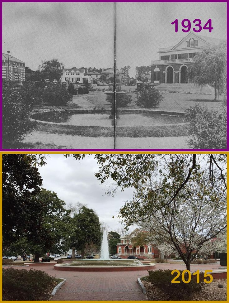 Wright Fountain as seen in 1934 and today. Discover more about ECU's growth in Digital Collections' Buildings Upon the Past. #TransformationTuesday