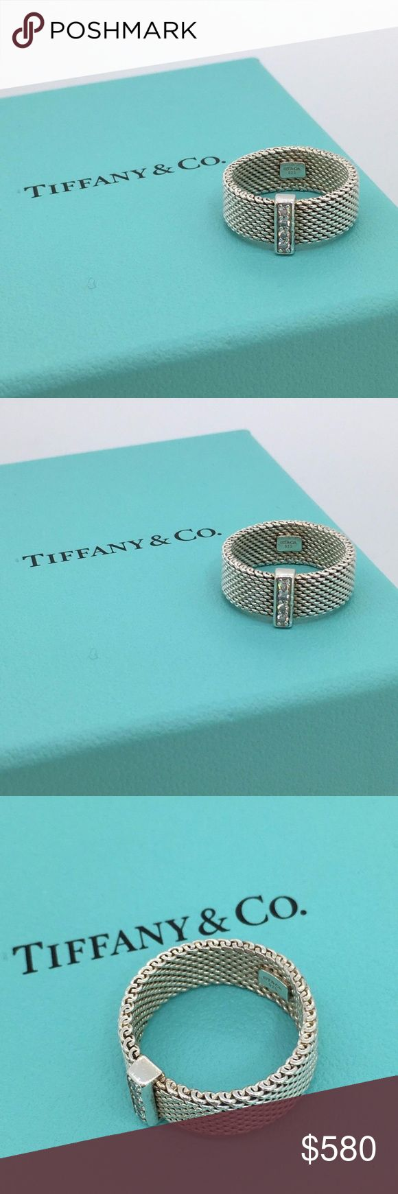 Tiffany & Co. Somerset Sterling & Diamond Ring! Tiffany somerset ring  Sterling silver and natural Round Brilliant VS quality diamonds  .06cttw diamonds  MSRP: $800  Size 6  Comes with original box ans pouch! Tiffany & Co. Jewelry Rings