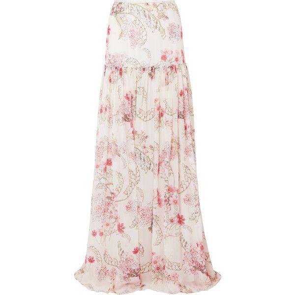 Giambattista Valli Floral-print silk-chiffon maxi skirt ($2,170) ❤ liked on Polyvore featuring skirts, pink floral maxi skirt, long floral skirts, maxi skirts, tiered ruffle maxi skirt and ruffle maxi skirt