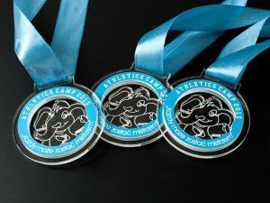 Przyjemne dla oka medale stworzone dla dzieci w krztałcie słonia . Wykonane z pleksi przezroczystej i niebieskiego laminatu grawerskiego