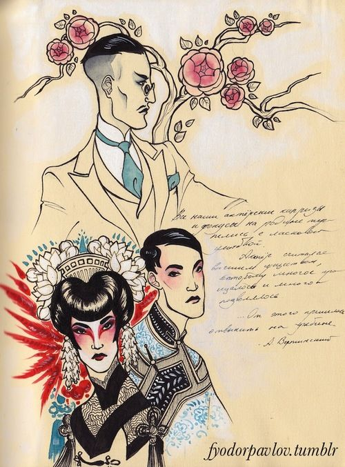 Sketches of the Shanghainese mafia head I drewlast week – I really like him. And a Chinese opera actor with and without make-up. I think the two are involved somehow, probably because the man basically owns the opera company through his patronage. They need names.