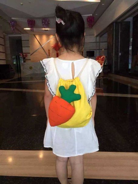 (マサリン)Masaling 子供可愛い デイパック  ベビー バッグ  果物飾りバッグ 人参さん 旅行用  幼稚園用バッグ 子供用のリュック (イエロー)
