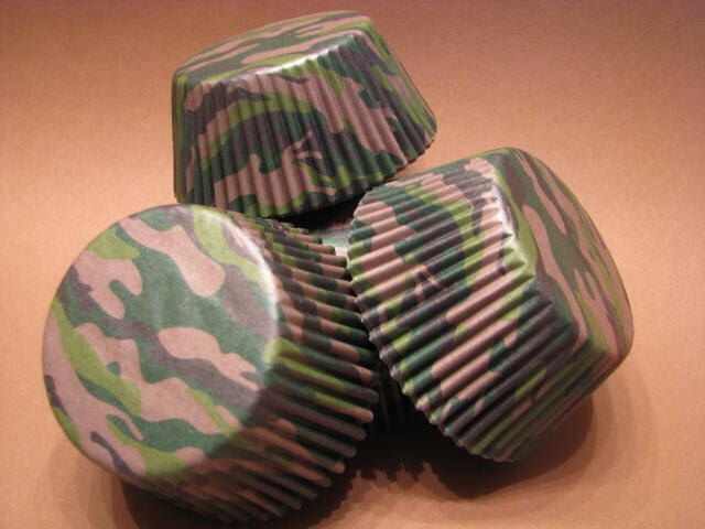 50 Premium Camo Camouflage Cupcake Wrapper/ Baking Cups/ Cupcake Liners by AllThatDough on Etsy https://www.etsy.com/listing/182348700/50-premium-camo-camouflage-cupcake