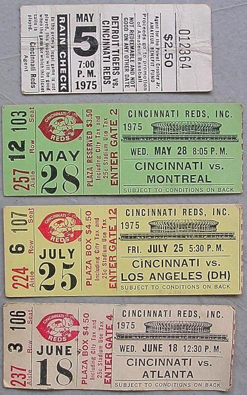 1970's cincinnati reds baseball ticket stub lot x4 tickets 1975 from $2.99