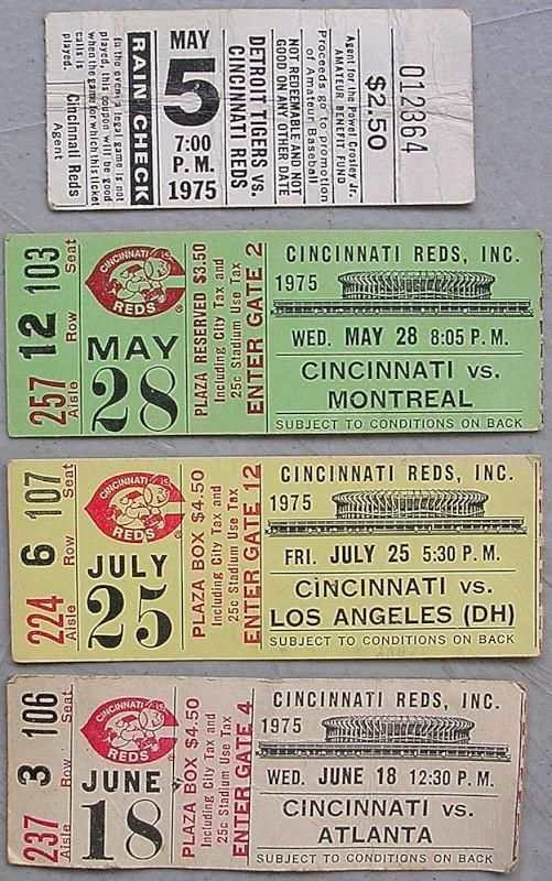 1970's cincinnati reds baseball ticket stub lot x4 tickets 1975 from $2.99