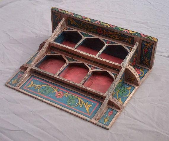 Vintage Moroccan Wood Shelf Hand Made / Wall