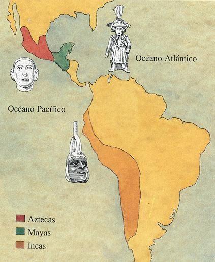 mapa de localización de mayas, aztecas e incas.