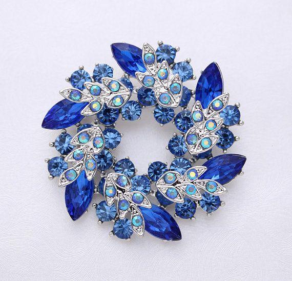 Royal Blue Wedding Brooch Sapphire Blue by Crystalitzy on Etsy