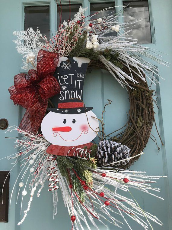Free Shipping Beautiful Snowman Let It Snow Christmas Grapevine Wreath For Door Wrea Christmas Wreaths Christmas Wreaths For Front Door Grapevine Christmas