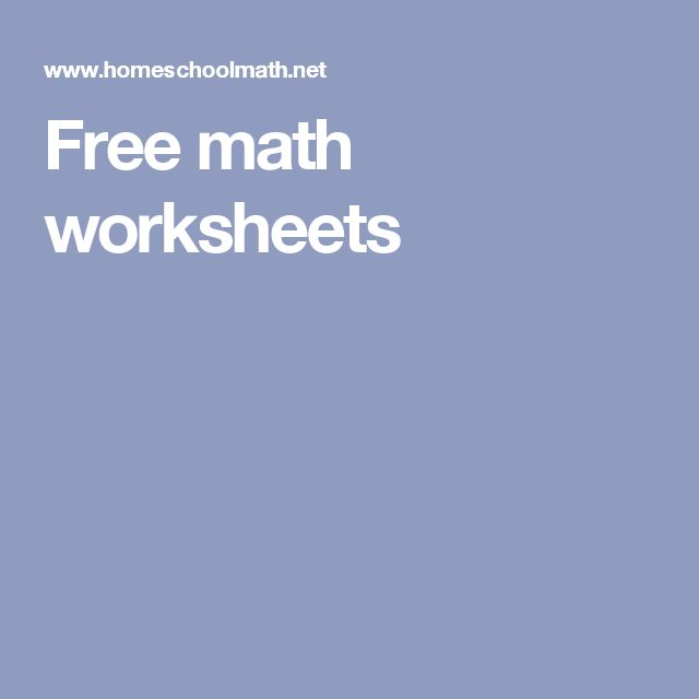 Free math worksheets