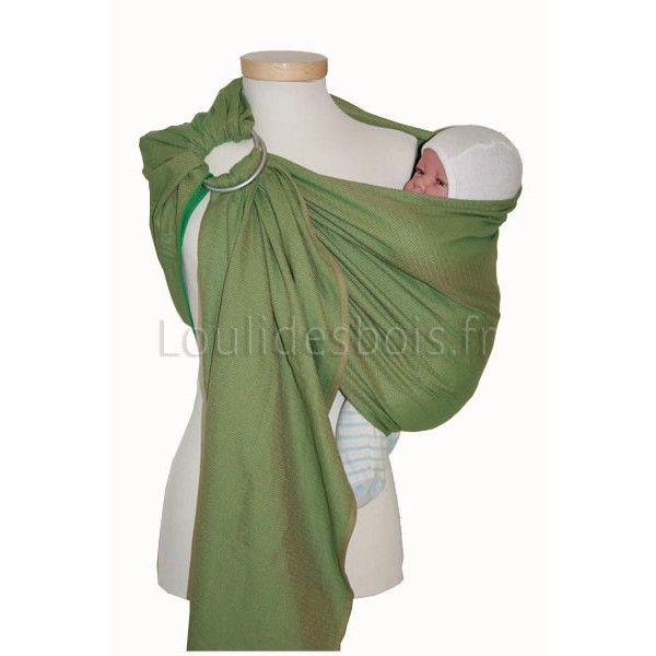Ring sling porte bébé hamac Léo vert Storchenwiege