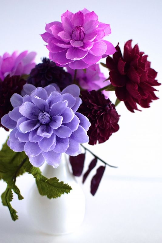 """Purple Dahlias"" (close up) Paper Floral Arrangement from Crafted to Bloom"