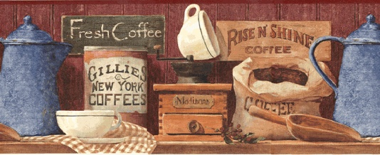 112532 Coffee Wallpaper Border Kitchen Decor Pinterest