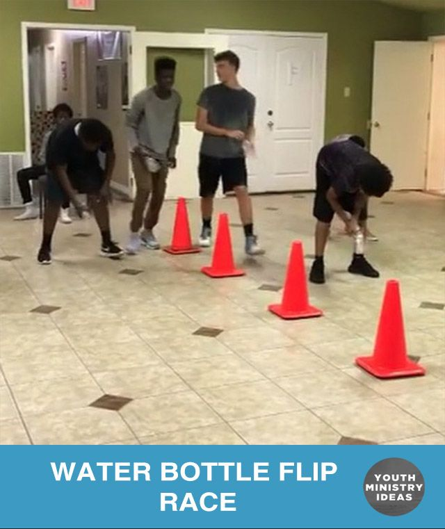 "Great new game made up by @themoveym using the #waterbottleflip to create a ladder race. Students stand in a row and when the leader says ""flip"" students try to flip a water bottle and make it land right side up. If they succeed, the move to the next cone. First one to the end wins! …"