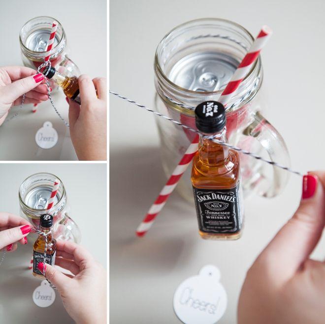 DIY // Cocktail Mason Jar Gift! Use soda + mixer of your choice!