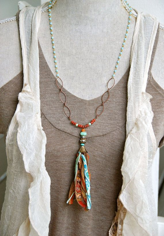 gypsy tassel girl long beaded tassel necklace bohemian. Black Bedroom Furniture Sets. Home Design Ideas