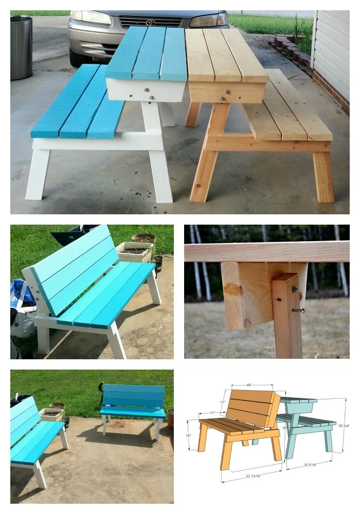 build a picnic table that converts to benches free and easy diy project and furniture