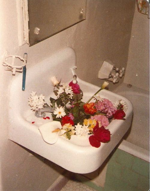 Flowers in bathroom