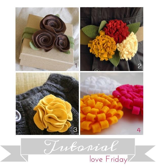 4 felt flower tutorials: Flowers Pin, Flowers Bouquets, Autumn Flowers, Diy Flowers, Felt Flowers Tutorials, Diy Felt, Homemade Flowers, Flowers Belts, Fabrics Flowers