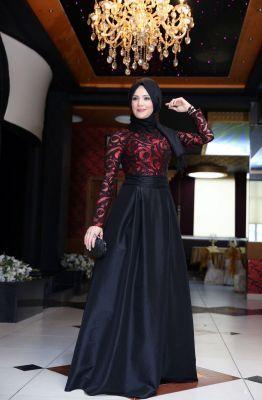 Mislina Selin Tafta Abiye Elbise 15Y3367 Kırmızı