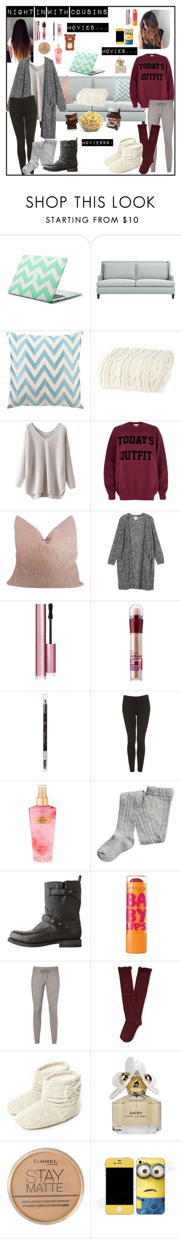 """Night in with cousins...movies"" by cats5 ❤ liked on Polyvore featuring Crate and Barrel, D.L. Rhein, River Island, Monki, Too Faced Cosmetics, Maybelline, Anastasia Beverly Hills, Topshop, Nivea and Victoria's Secret"