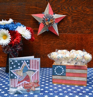 Brigit's Americana table setting is ready for a party!  The 3D Star is from MADE IN THE USA SVG KIT.  The Pop Container is actually made using the Crate from CARAMEL APPLE PIE SVG KIT!!  Check here for more info: http://www.brigitsscraps.com/2012/06/4th-of-july-americana.html