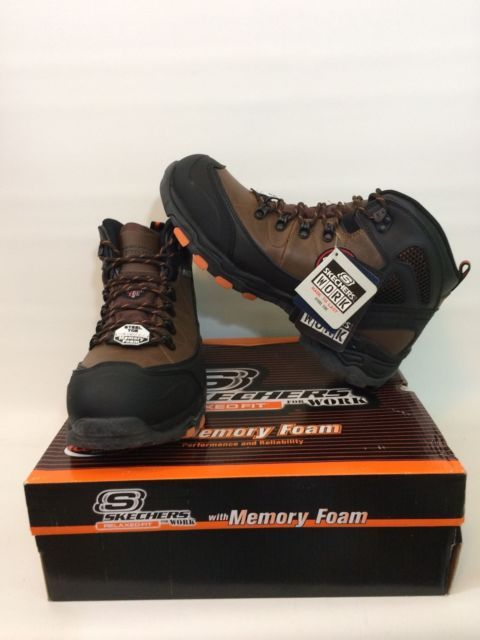 Skechers Steel Toe Work Boot Surren Waterproof Brown Memory Foam 77081   eBay