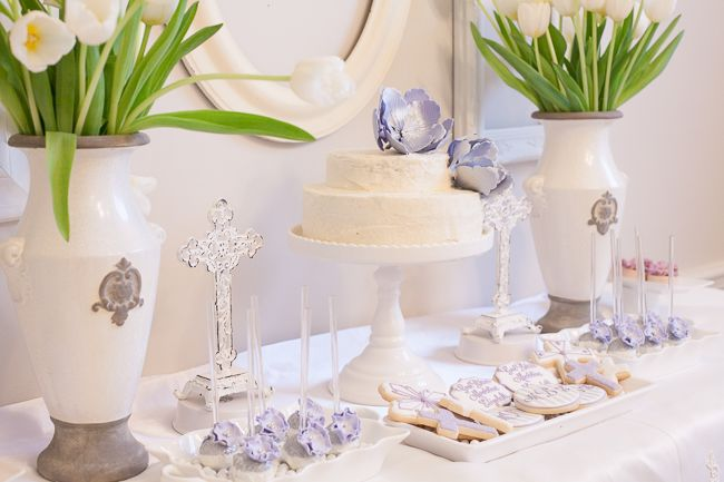 Ideas for a First Communion Party - we love the lavender accents in this dessert table!: Lavender Accent, Dessert Tables, First Communion Parties, Bday Ideas, First Communion Party, Parties Ideas, Parties Desserts, Desserts Tables, Birthday Ideas