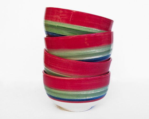 30% discount in set of 4 handmade ceramic bowls ||  Red, green and blue striped pattern hand-painted bowl set