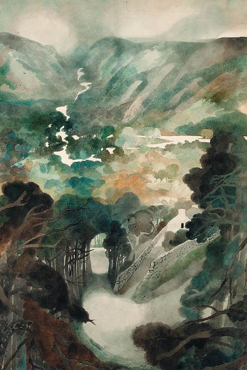 Edward Burra (English, 1905-1976), Windermere, 1973. Pencil and watercolour, 39½ x 26¾ in. (100.3 x 68cm.)