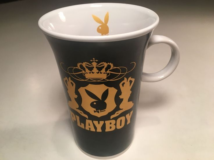 Playboy Large Oversize Coffee Mug Tea Cup Black Gold & White Bunny Crown Design