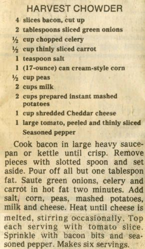 Harvest Cheddar recipe, Milwaukee Sentinel, Wisconsin, 1982. Source: Milwaukee Public Library Historic Recipe File.