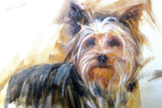 Yorkshire Terrier perro perro Pintura  Retrato  por RenateDiroll
