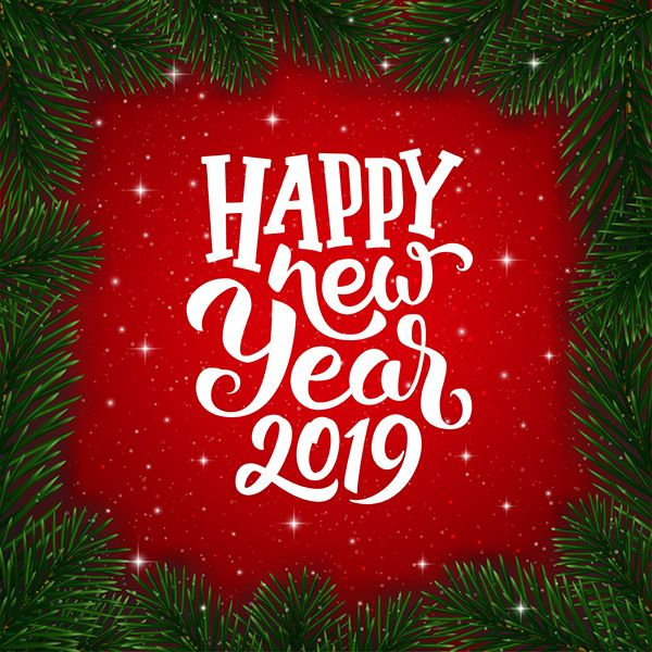 happy new year 2019 wishes typography text and border with christmas tree branches on red background