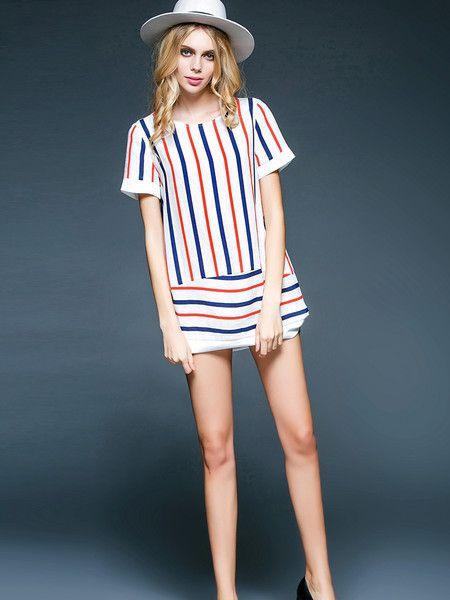 #Stylewe Color-block Polyester Mini Dress #casual #stylish #holiday #fashion