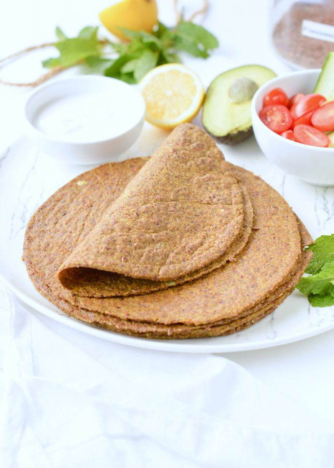 Flaxseed Wraps are NO carbs easy keto wraps recipe made with 4 ingredients. 100% low carb + gluten free + vegan. An easy protein wrap recipe (9g/wrap) to enjoy finger food while boosting your body with wholefoods. #lowcarb #keto #wraps #tortillas #vegan