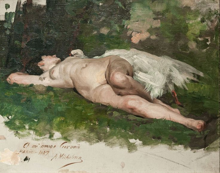 Arturo Michelena (1887) - Leda and the Swan (Study):