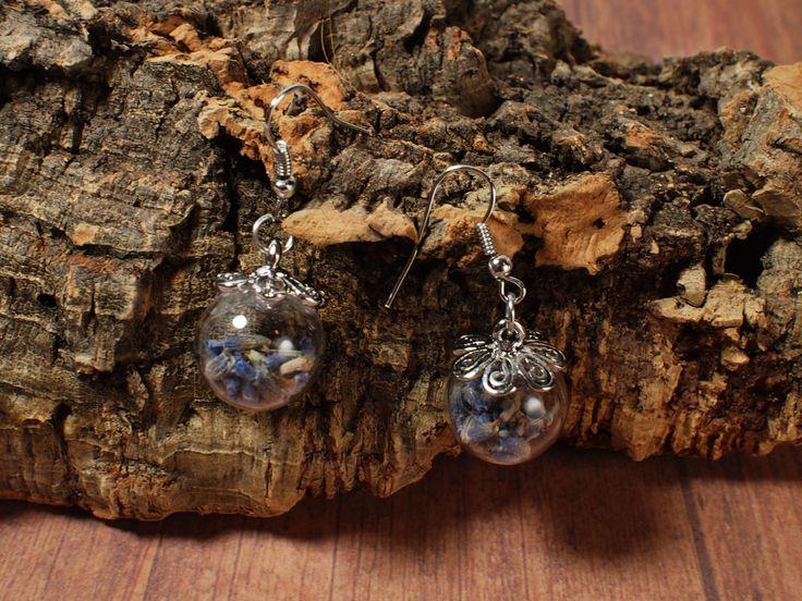 Pendientes naturales de lavanda. Esfera de cristal. Pendientes flor seca. Flores de lavanda. Pendientes esfera de cristal. de LasCositasdeLidia en Etsy