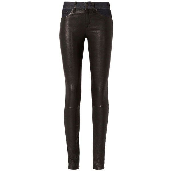 Rag & Bone Women's /JEAN Essex Black Leather Hyde Denim Skinny found on Polyvore featuring jeans, pants, bottoms, calças, leather, black, faux-leather jeans, zipper skinny jeans, 5 pocket jeans and dark denim jeans